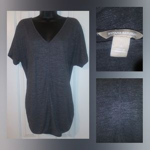 Banana Republic Women's Large Gray V Neck Casual T